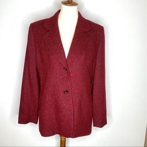 Austin Reed Red Houndstooth Wool Blend Blazer 12